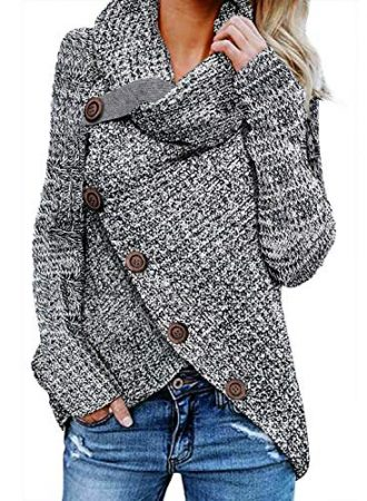 Asvivid Womens Turtle Cowl Neck Asymmetric Wrap Lightweight Ladies Pullover Sweaters with Button Details S Grey