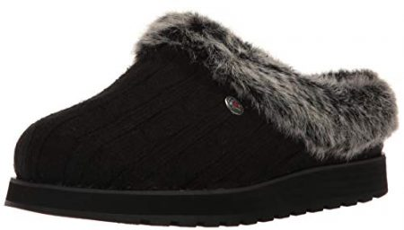 BOBS from Skechers Women's Keepsakes Ice Angel Slipper, Black, 7 M US
