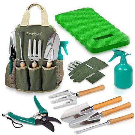 Scuddles Garden Tools Set - 9 Piece Heavy Duty Gardening tools With Storage Organizer, Ergonomic Hand Digging Weeder, Rake, Shovel, Trowel, Sprayer, Gloves Gift for Men & Women (GARDEN TOOLS WITH MAT)