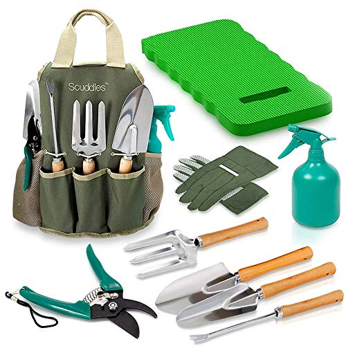 Scuddles Garden Tools Set - 9 Piece Heavy Duty Gardening tools With Storage Organizer, Ergonomic Hand Digging Weeder, Rake, Shovel, Trowel, Sprayer, Gloves Gift for Men & Women (GARDEN TOOLS WITH MAT)