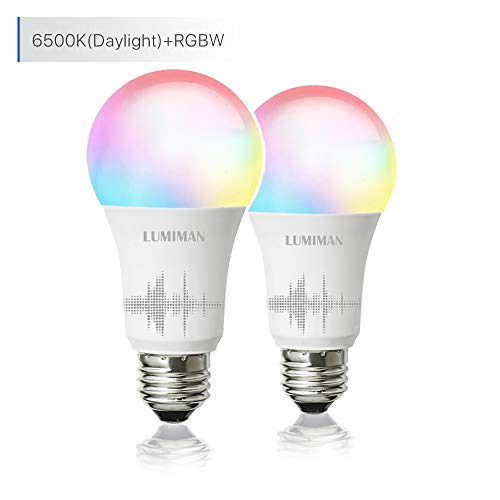 Smart WiFi Light Bulb, LED RGB Color Changing, Compatible with Amazon Alexa and Google Home Assistant, No Hub Required, A19 E26 Multicolor LUMIMAN 2 Pack