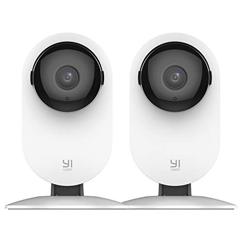 YI 2pc Home Camera, 1080p Wireless IP Security Surveillance System Free Motion Alerts, Night Vision, Baby Monitor on iOS, Android App - Cloud Service Available
