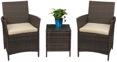 Patio Porch Furniture Set 3 Piece PE Rattan Wicker Chairs Beige Cushion with Table
