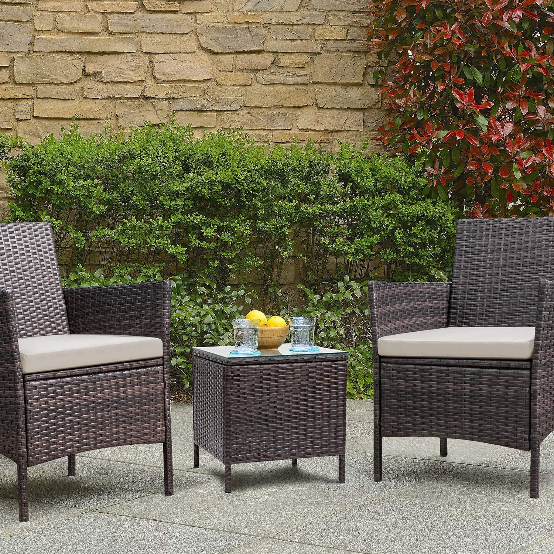 Patio Porch Furniture Set 3 Piece PE Rattan Wicker Chairs ...