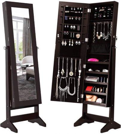 Lockable Jewelry Cabinet Jewelry Armoire with Mirror Jewelry Holder Organizer Storage