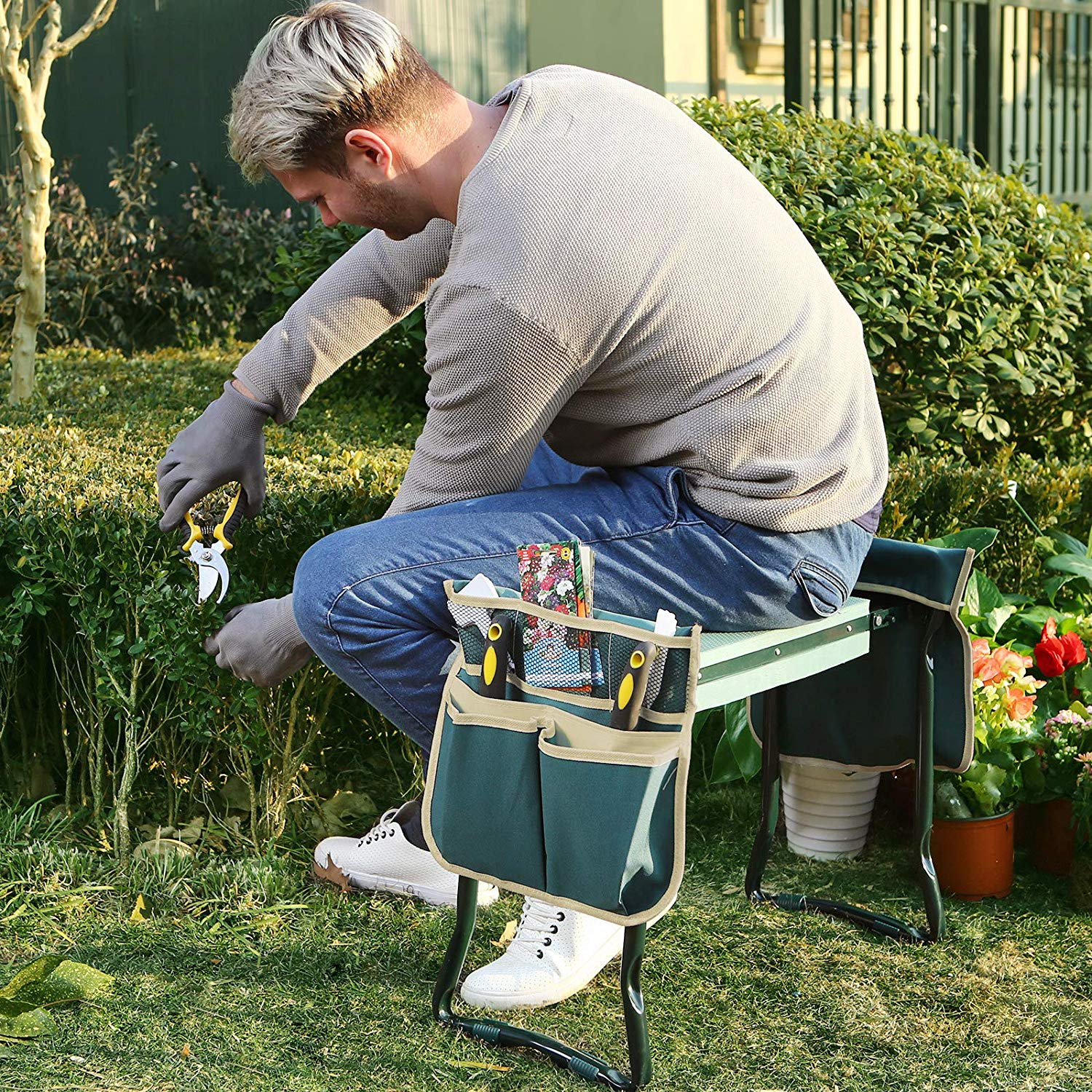 Folding Bench Stool with Kneeling Pad for Gardening ... on Gardening  id=81494