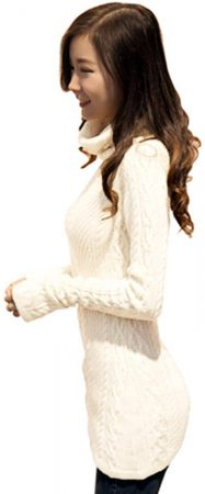 Women Polo Neck Knit Stretchable Elasticity Long Sleeve Slim Sweater Jumper