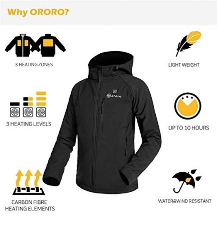 Women's Heated Jacket with Battery Pack and Detachable Hood