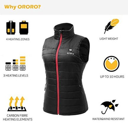 Women's Lightweight Heated Vest with Battery Pack (Small)
