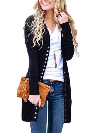 Long Sleeve Knit Ribbed Neckline Cardigans