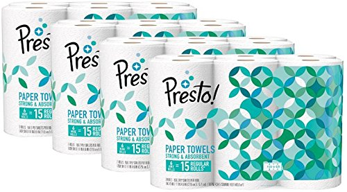 Amazon Brand - Presto! Flex-a-Size Paper Towels, Huge Roll, 24 Count = 60 Regular Rolls