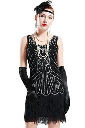 BABEYOND Women's Flapper Dresses 1920s V Neck Beaded Fringed Great Gatsby Dress (Black, XXXL)