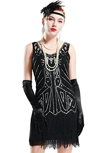 BABEYOND Women's Flapper Dresses 1920s V Neck Beaded Fringed Great Gatsby Dress (Black, XXXL)