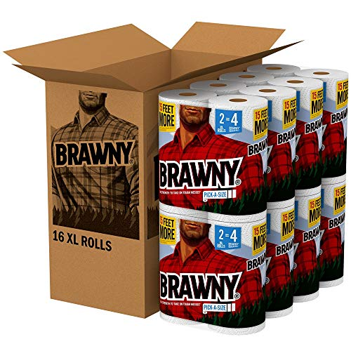 Brawny Paper Towels, 16 XL Rolls, Pick-A-Size, White, 16 = 32 Regular Rolls