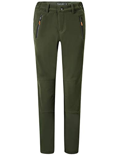 Camii Mia Women's Windproof Waterproof Sportswear Outdoor Hiking Fleece Pants (W30 x L30, Army Green)