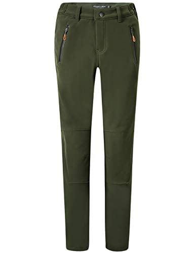 Camii Mia Women's Windproof Waterproof Sportswear Outdoor Hiking Fleece Pants (W30 x L30, Army Green)
