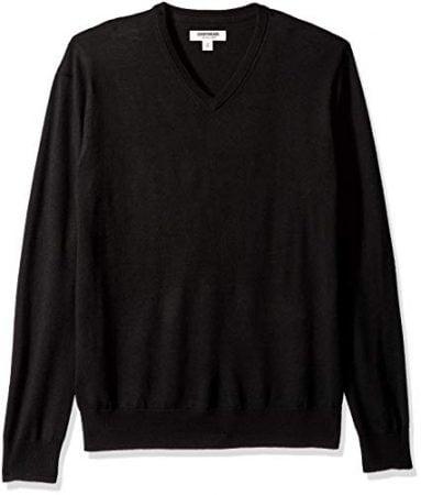 Goodthreads Men's Merino Wool V-Neck Sweater, Black, Large