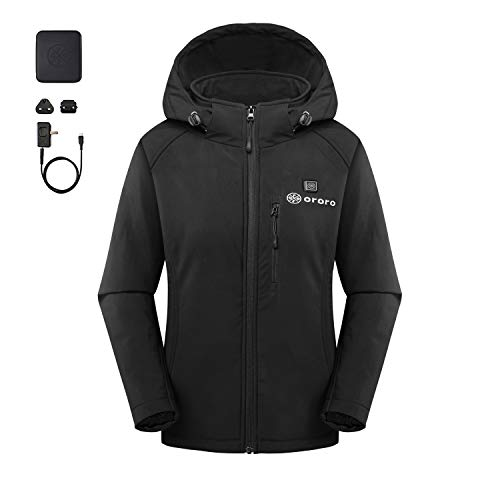 ORORO Women's Slim Fit Heated Jacket with Battery Pack and Detachable Hood (M)