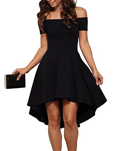 Sarin Mathews Women Off The Shoulder Short Sleeve High Low Cocktail Skater Dress Black S