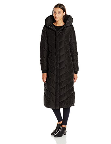 Steve Madden Women's Long Chevron Maxi Puffer Coat, Black, Large
