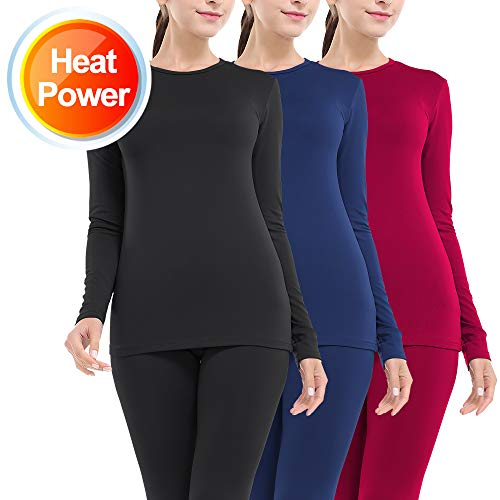 Thermal Underwear for Women Long Johns Set Fleece Lined Ultra Soft 3 Pack Black/Red/Blue Small
