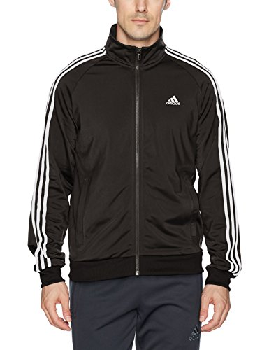 adidas Men's Essentials 3-Stripe Tricot Track Jacket, Black/White, XXX-Large
