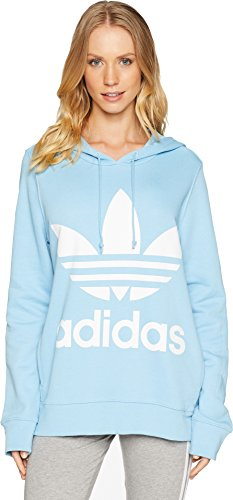 adidas Originals Women's Trefoil Hoodie, Clear/Blue, Medium