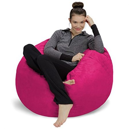 Sofa Sack - Plush, Ultra Soft Bean Bag Chair - Memory Foam Bean Bag Chair with Microsuede Cover - Stuffed Foam Filled Furniture and Accessories for Dorm Room - Magenta 3'