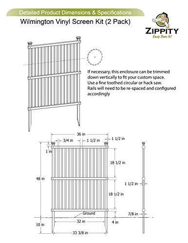 Zippity Outdoor Products Wilmington Vinyl Privacy Screen
