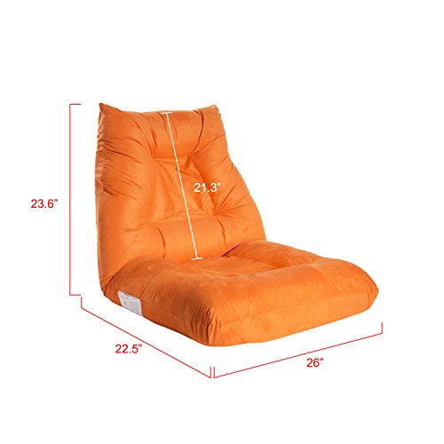 Adjustable 5-Position Folding Floor Chair Lazy Sofa Cushion Gaming Chair  (Orange) - Useful Tools Store