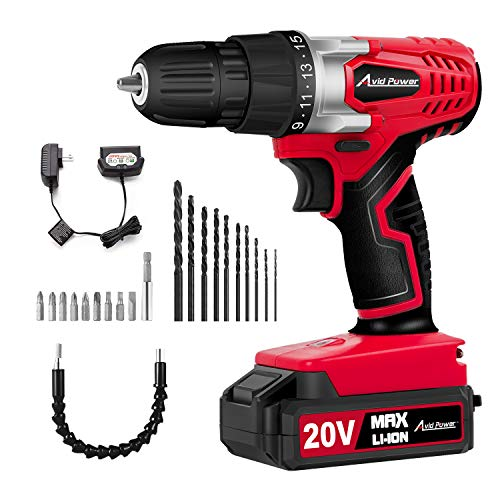 "Avid Power 20V MAX Lithium Ion Cordless Drill, Power Drill Set with 3/8"" Keyless Chuck, Variable Speed, 16 Position, LED Light and 22pcs Drill/Driver Bits, MW316"