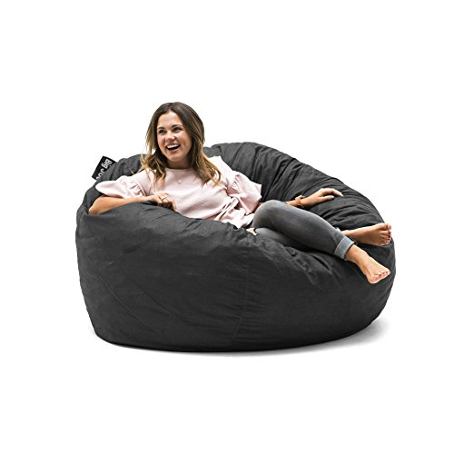 Big Joe 0010655 Fuf Foam Filled Bean Bag Chair, Large, Black Lenox