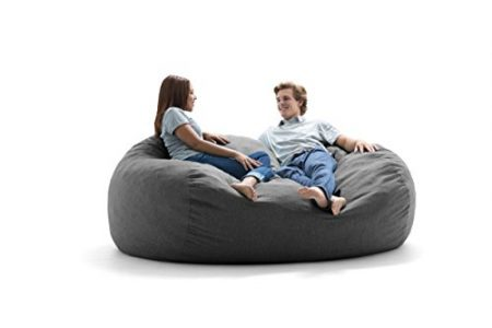 Big Joe Lux XXL Fuf Foam Filled Bean Bag Chair, Union, Gray