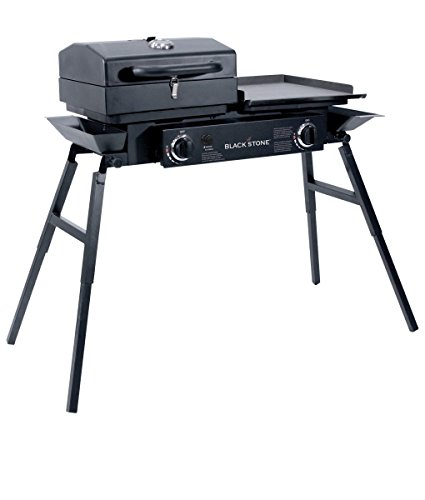 "Blackstone Grills Tailgater - Portable Gas Grill and Griddle Combo - Barbecue Box - Two Open Burners "" Griddle Top - Adjustable Legs - Camping Stove Great for Hunting, Fishing, Tailgating and More"