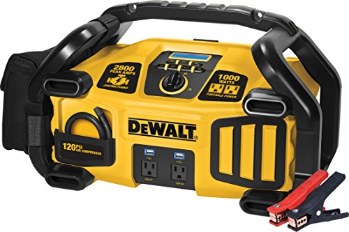 DEWALT DXAEPS2 Professional Power Station Jump Starter: 2800 Peak/1400 Instant Amps, 1000W Inverter, 120 PSI Air Compressor, Battery Clamps