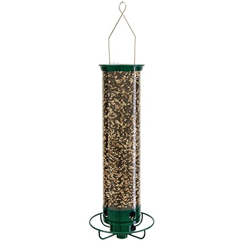 Droll Yankees Yankee Flipper Squirrel-Proof Bird Feeder, 21 Inches, 4 Ports, Forest Green