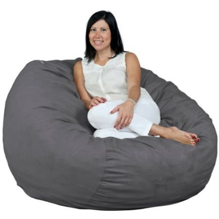 FUGU Bean Bag Chair, Premium Foam Filled 4 XL, Protective Liner Plus Removable Machine Wash Grey Cover