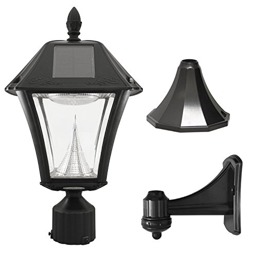"Gama Sonic GS-105FPW-BW Baytown II, Outdoor Solar Light and 3"" Pole Pier & Wall Mount Kits, Lamp Only Only, Bright White LED, Black"