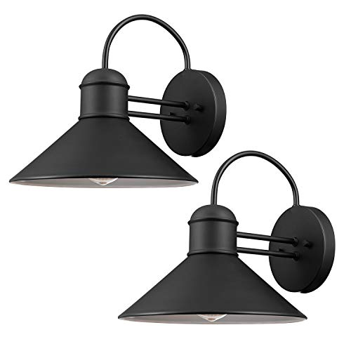 Globe Electric 44165 Sebastien Outdoor Wall Sconce, Black Finish, 2-Pack,