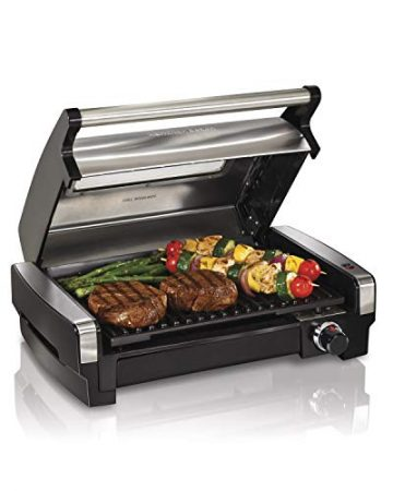 Hamilton Beach 25361 Electric Indoor Searing Grill with Removable Easy-to-Clean Nonstick Plate, Viewing Window, Stainless Steel