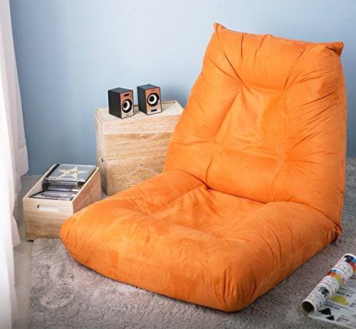LZ LEISURE ZONE Adjustable 5-Position Folding Floor Chair Lazy Sofa Cushion Gaming Chair (Orange)
