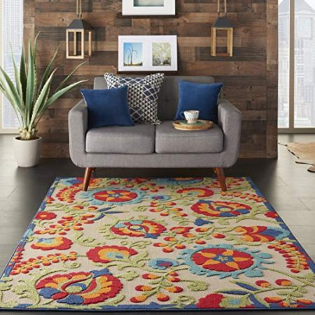 """Nourison Aloha  Multicolor Indoor/Outdoor Area Rug  5 feet 3 Inches by 7 Feet 5 Inches, 5'3""""X7'5"""""""