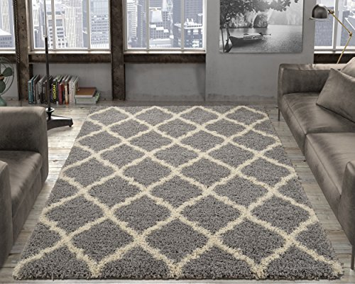 "Ottomanson Collection shag Trellis Area Rug, 5'3""X7'0"", Grey"