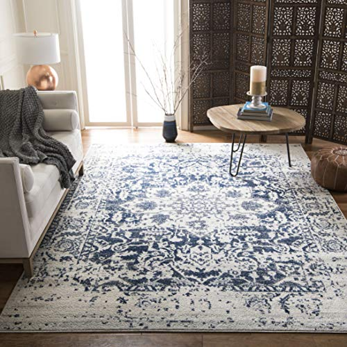 Safavieh Madison Collection MAD603D Cream and Navy Distressed Medallion Area Rug (8' x 10')