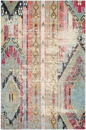 "Safavieh Monaco Collection MNC222F Modern Bohemian Multicolored Distressed Area Rug (5'1"" x 7'7"")"