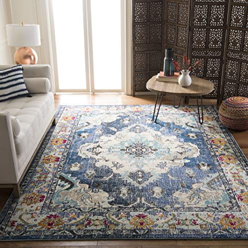 "Safavieh Monaco Collection MNC243N Vintage Bohemian Navy and Light Blue Distressed Area Rug (5'1"" x 7'7"")"
