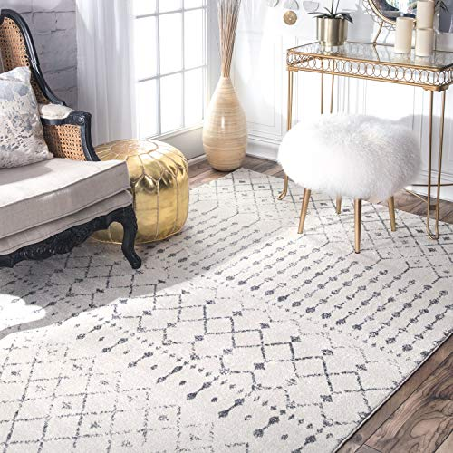 "nuLOOM Moroccan Blythe Area Rug, 5' x 7' 5"", Grey/Off-white"
