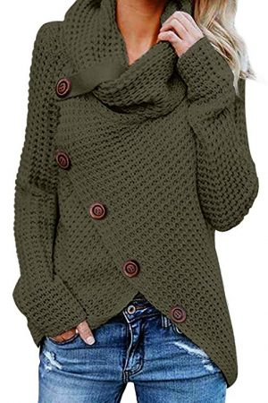 Turtle Cowl Neck Asymmetric Wrap Pullover Sweaters