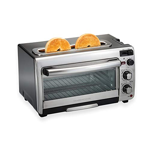 Hamilton Beach 2-in-1 Countertop Oven and Long Slot Toaster, Stainless Steel, 60 Minute Timer and Automatic Shut Off (31156)