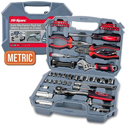 "Hi-Spec 67 Piece METRIC Auto Mechanics Tool Set - 3/8"" Quick Release Offset Ratchet with 72 Teeth, 4-19mm METRIC Sockets Set, T-Bar, Extension Bar, Hand Tools & Screw Bits in Storage Case"